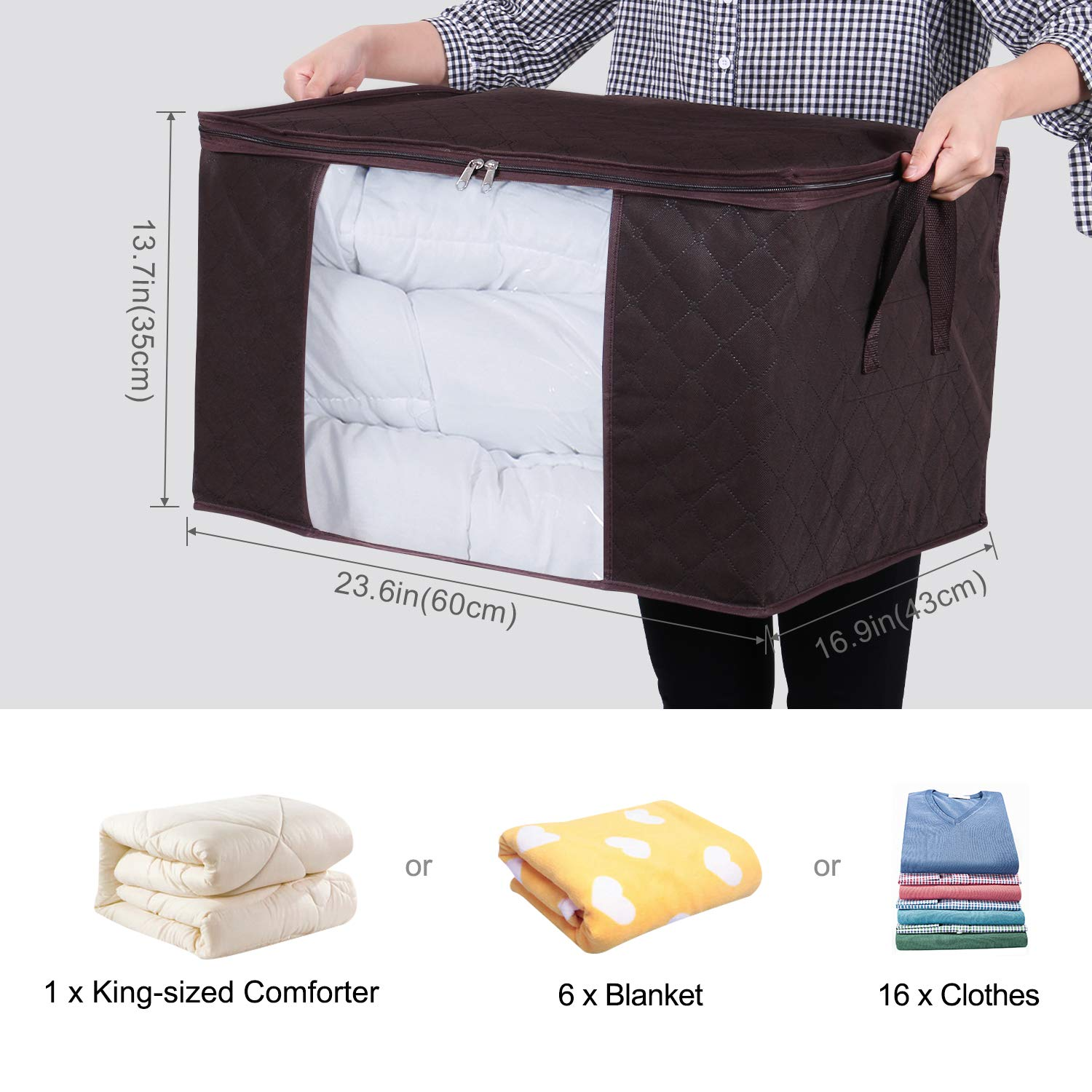 3 Pack Bedding Foldable with Sturdy Zipper Clear Window Lifewit Large Capacity Clothes Storage Bag Organizer with Reinforced Handle Thick Fabric for Comforters Beige Blankets 90L