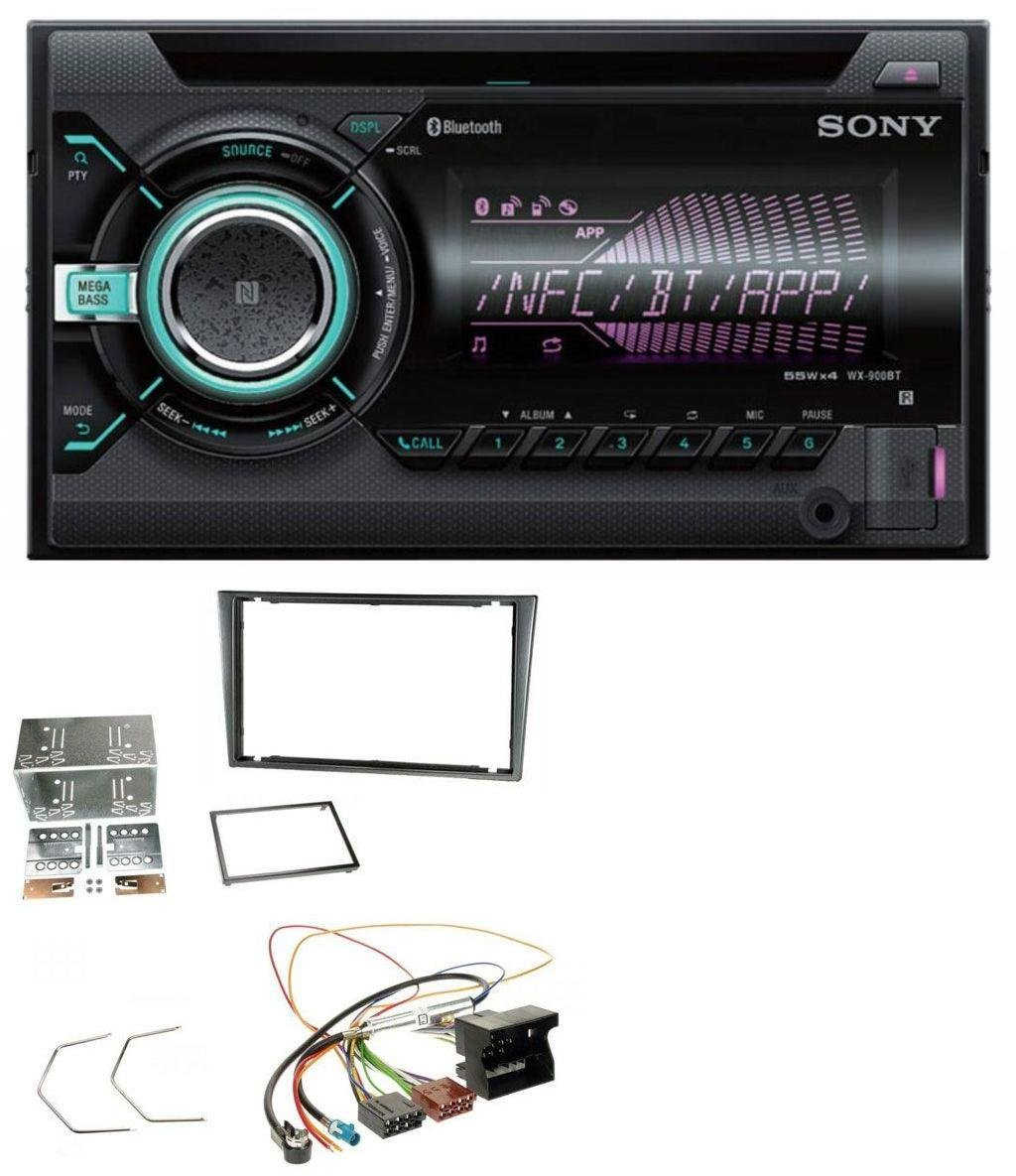 caraudio24 Sony WX-900BT USB Aux MP3 2DIN CD Bluetooth Autoradio fü r Opel Corsa C Quadlock 2000-2006 Aluminium