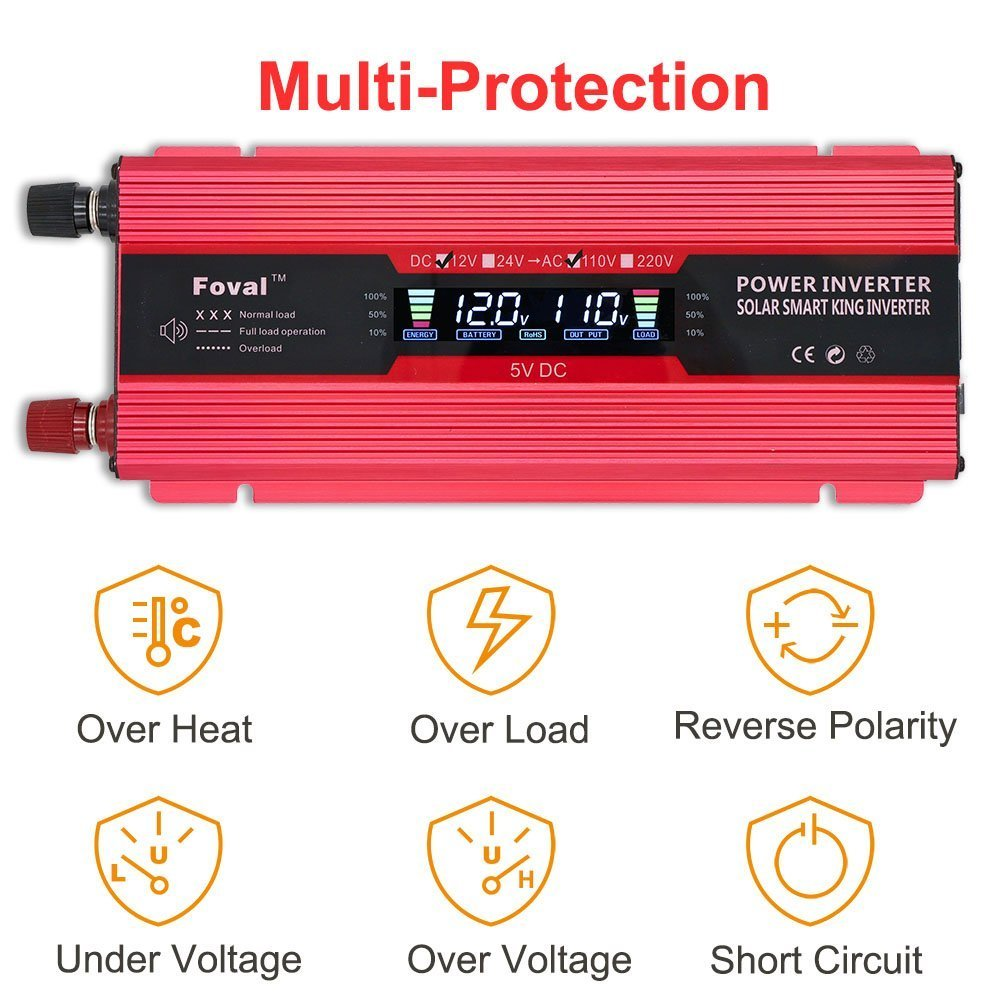 Lvyuan 1000W/2000W Power Inverter Dual AC Outlets and Dual USB Charging Ports DC to AC inverter 12V to 110V Car Converter DC 12V inverter With Digital LCD Display by Lvyuan (Image #3)