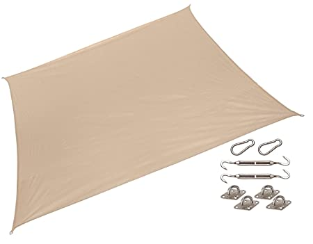 California Sun Shade 481407, 10 Square Shade, HDPE Fabric with 85 UV Block, Including Installation Kit, Desert Sand COOLAROO Sails