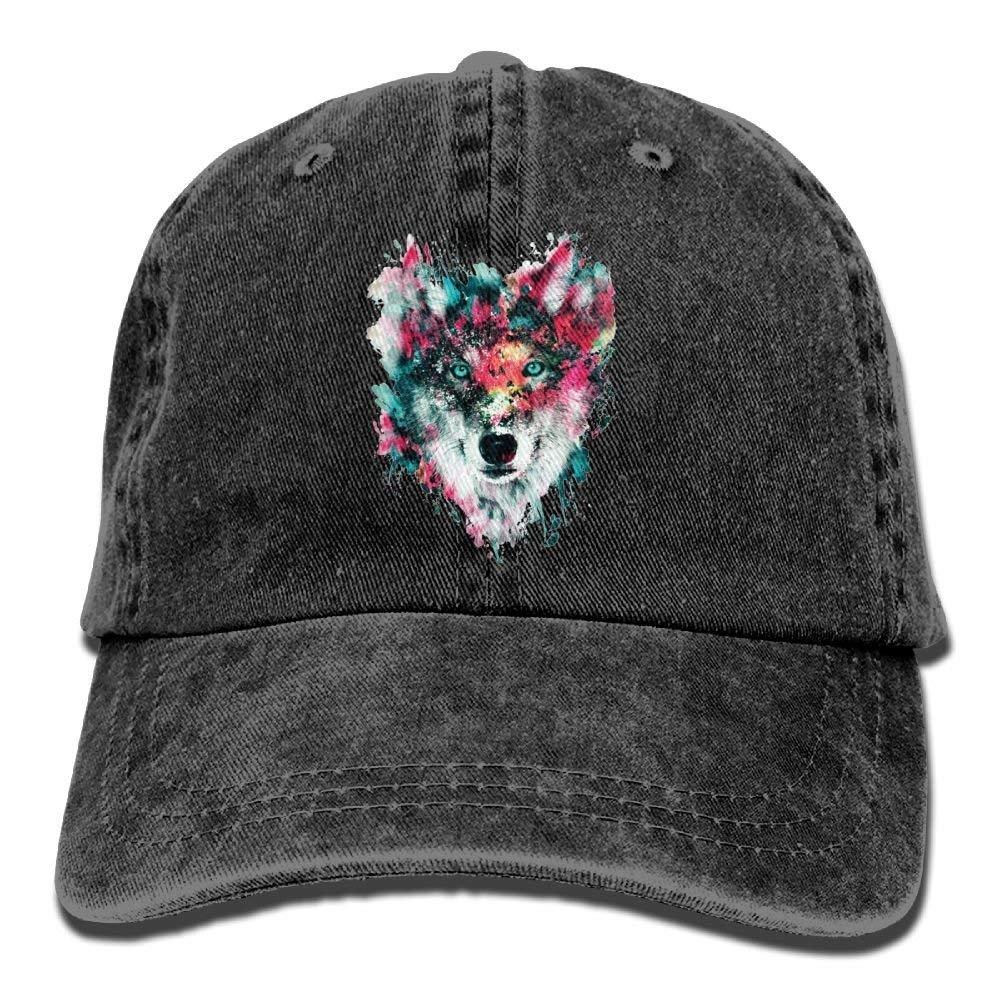 JTRVW Watercolor Wolf Cowboy Baseball Cap for Men Women Trucker Style Hat