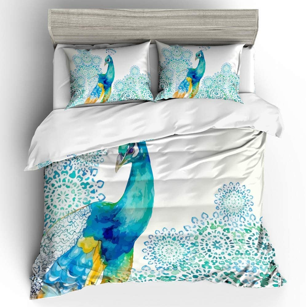 Erosebridal Peacock Decor Duvet Cover Set Kids Full Cute Animal Theme Bedding Set Print for Adult Teen Boys and Girls Decorative Bedding Animal Soft Comforter//Quilt Cover Peacock Feathers Bed Cover F