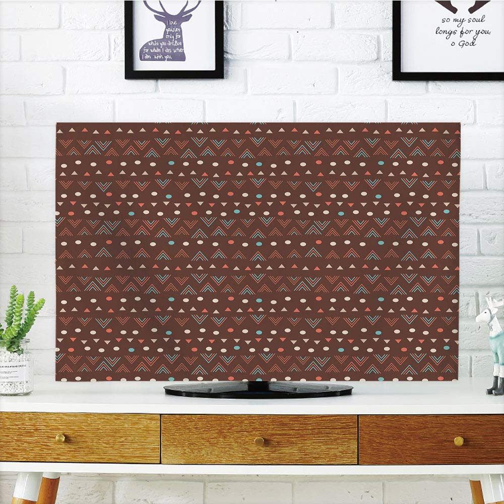 iPrint LCD TV dust Cover,Tribal,Ethnic Image with Wave Like Zig Zag Borders and Polka Dots Abstract Backdrop Artwork,Dark Brown,3D Print Design Compatible 50''/52'' TV