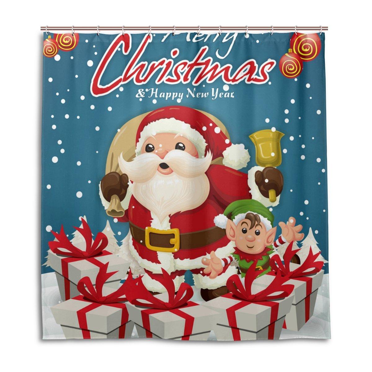 Cortinas de ducha impermeable moho a prueba de molde resistente feliz año nuevo Navidad Papá Noel tema lavable polyseter diseño cortina de baño con ganchos ...