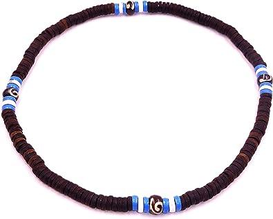 collier homme perle bleu