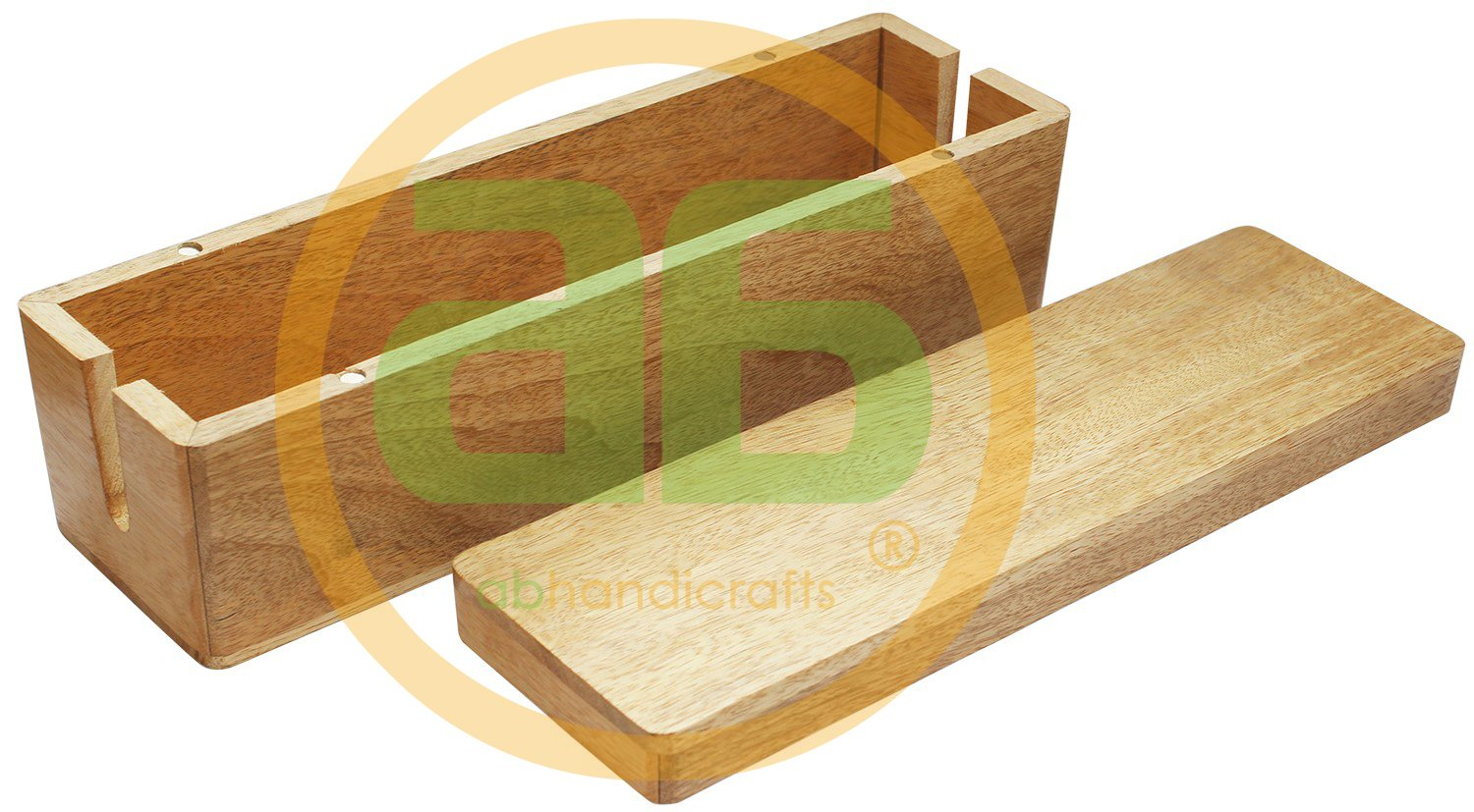 Sale for Today ONLY - AB Handicrafts - 12.7x3.6 inches Wooden Magnetic Brown Cable Box - Cable Management Box Organizer USB Hub Hides All Wires