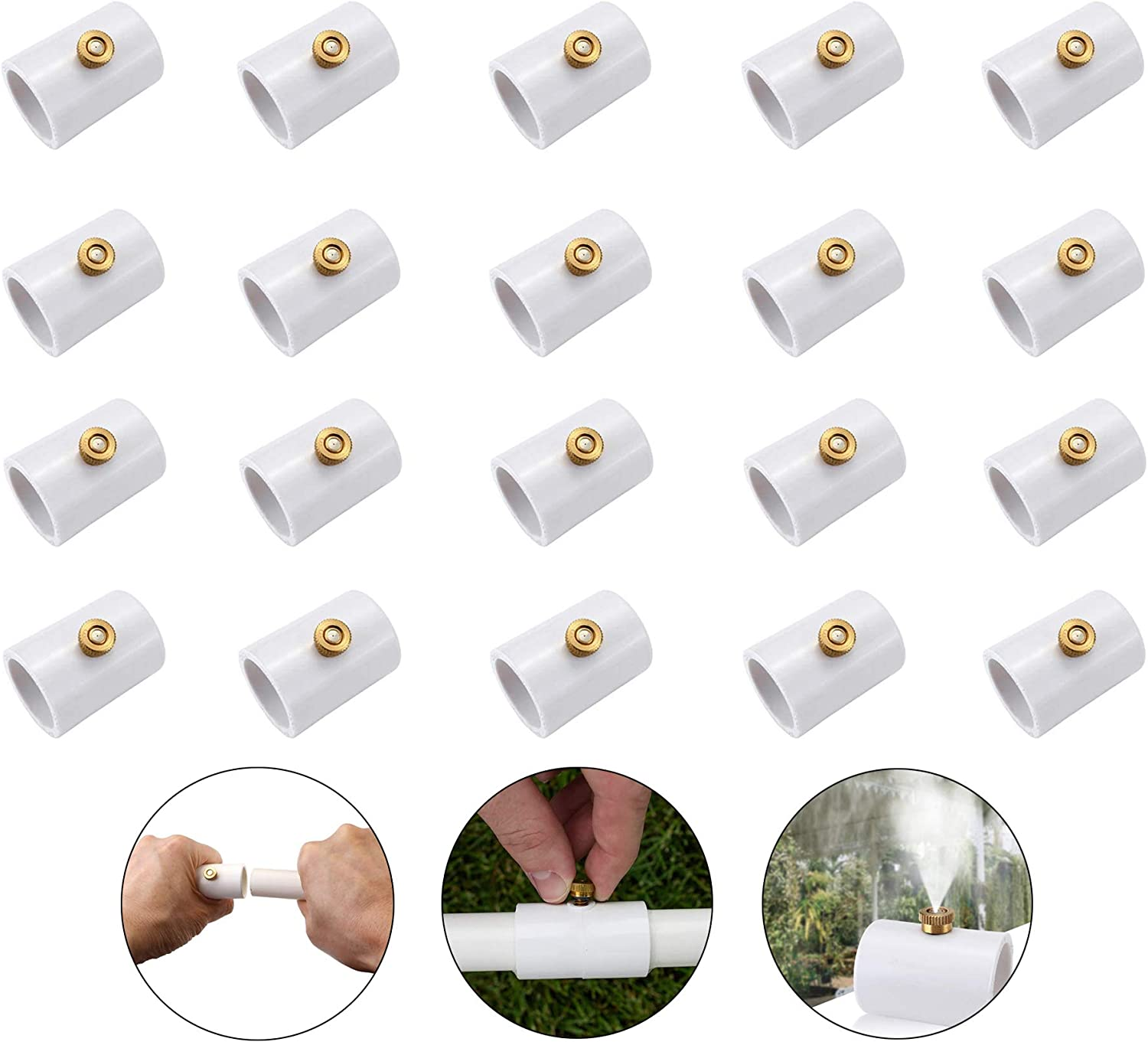 20 Pack Misters for Outside Patio, Mister Nozzles for Misting Cooling System, 1/2 Inch PVC Splitter with Brass Mist Nozzle, Misters for Outside Patio