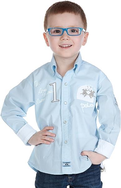 La Martina - Camisa - para niño beige hellblau 4 años: Amazon ...