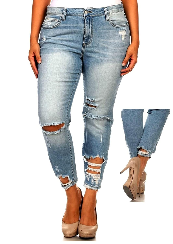 1826 Jeans DO66 Womens Plus Size Sexy Boyfriend Denim Jeans Ripped Distressed Strech Pants