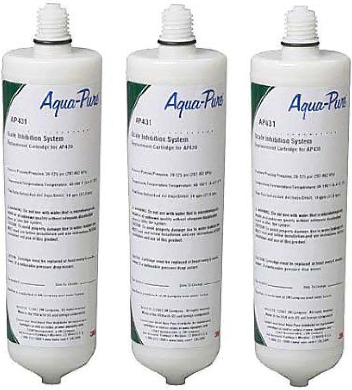 AquaPure 3-Pack 3M CUNO Aqua-Pure AP431 Hot Water Scale Inhibitor Replacement Filter, White