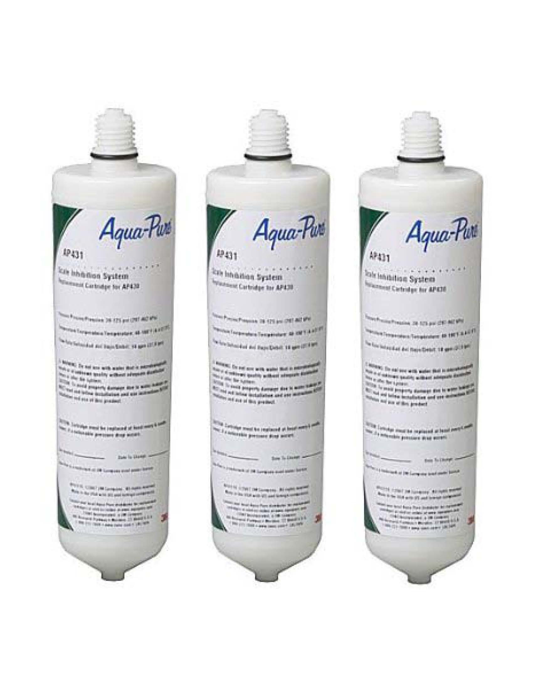 3-Pack 3M CUNO Aqua-Pure AP431 Hot Water Scale Inhibitor Replacement Filter