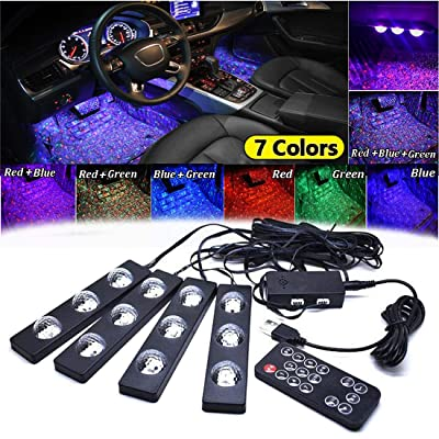 Car Interior Lights,4PCS Car LED Strip Light USB Multicolor Car Under Dash Starlight Lighting kits RGB 12 LED Atmosphere Neon Lighting Kit with Music Sound Active Function Wireless Remote Control: Automotive