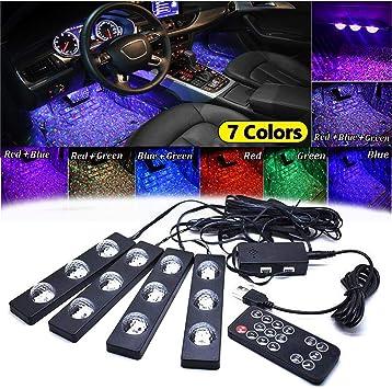 Car LED Strip Lights DC 12V Qable Powerz 4332977263 Top Notch 4 Pieces Multi-Color Car RGB LED Light Strip Under Dash Lighting Kit Music Car Interior Decorative Accent Lights w//Sound Active Function Remote Control