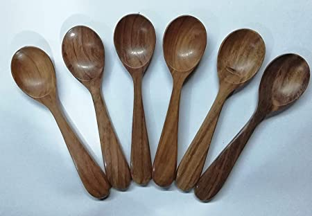 Onlineshoppee Sheesham Wooden Masala Spoon - Set of 6 (Table Spoon Size) Coffee, Tea & Espresso at amazon