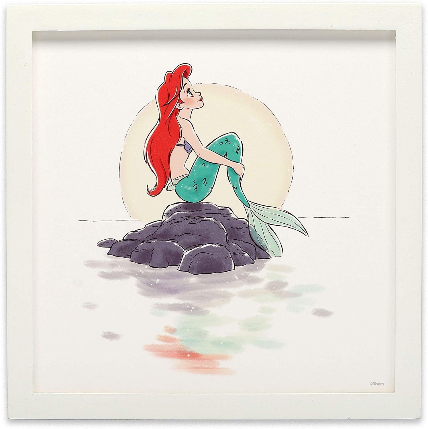 Open Road Brands Disney The Little Mermaid Ariel Framed Wood Wall Décor - for Bedroom, Play Room or Movie Room