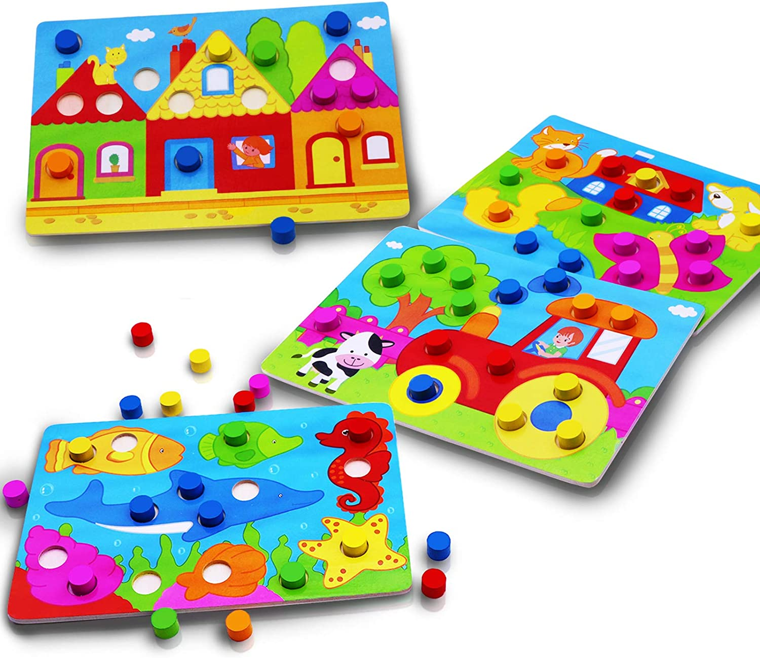Amazon Com Color Wooden Jigsaw Puzzles For Kids Toddlers 3d Wooden Puzzle Girls Boys Color Board Animal Farm Sea House Shapes Puzzles Colors Learning Recognition Toys Set Gift Wooden Party Supplies 4pack