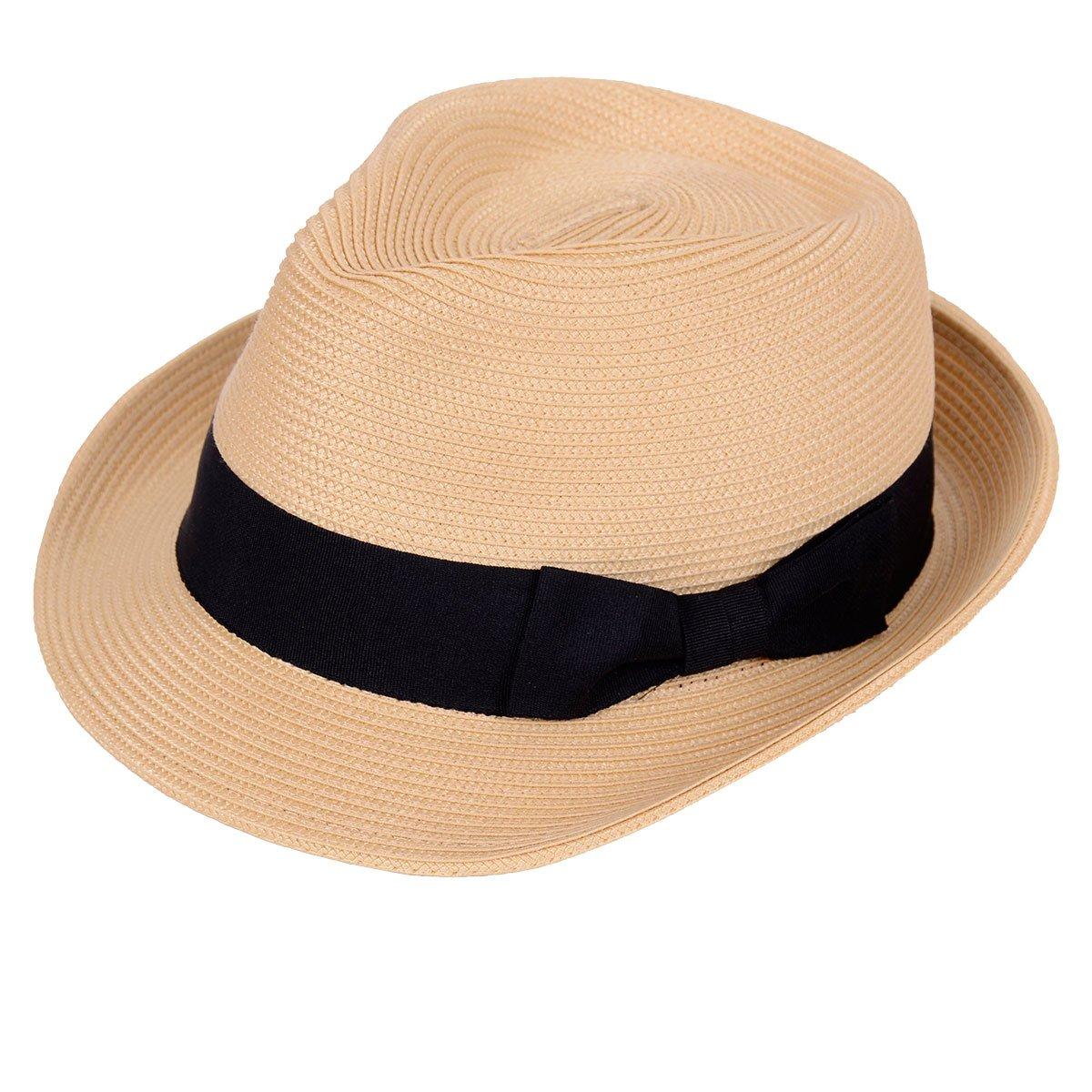 Straw Fedora Hat Sun Trilby Unisex Summer Beach Hats Fashion Panama with Short Brim for Men and Women(B-Straw-Yellow)