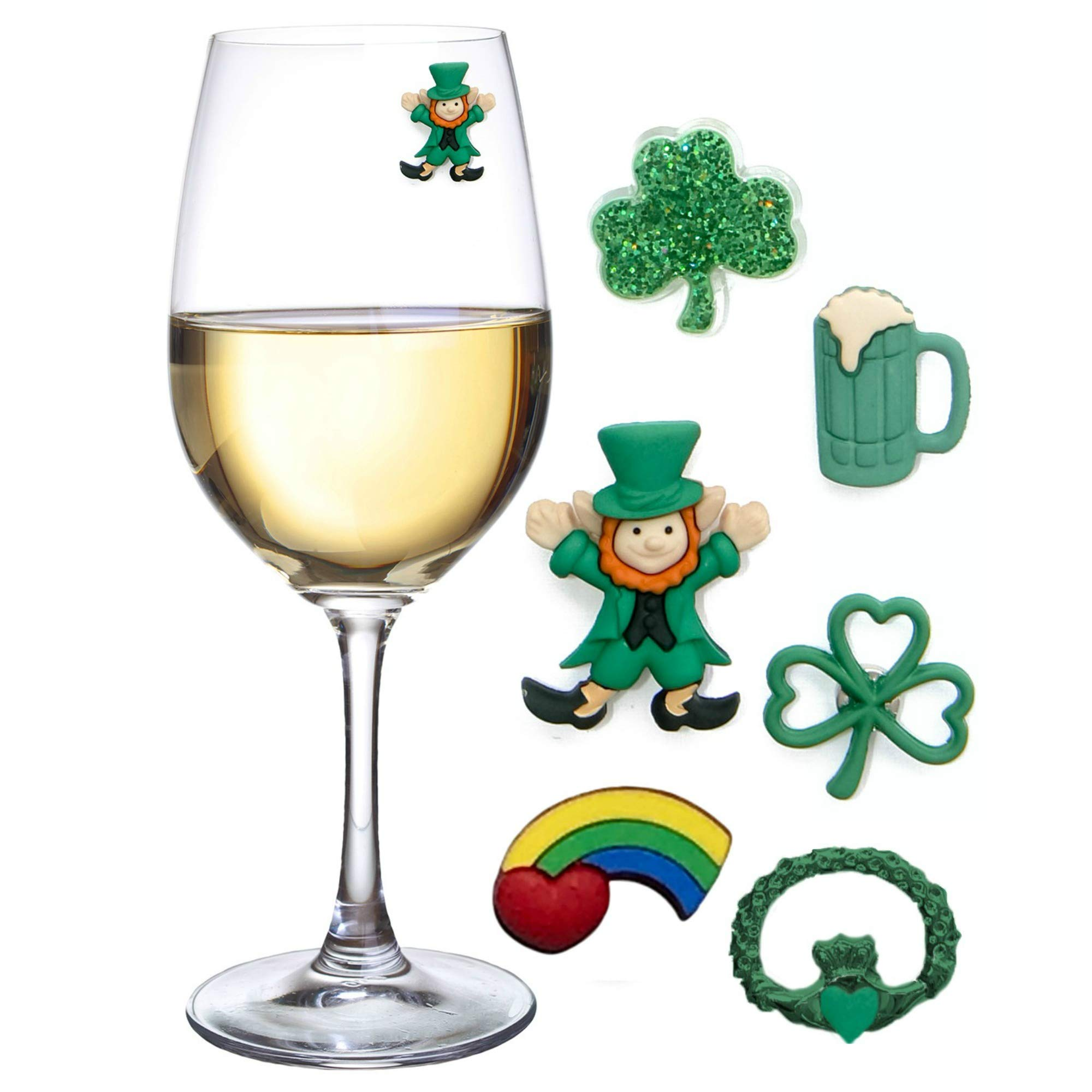 St Patricks Day Magnetic Drink Markers and Wine Charms for Stemless Glasses Beer Mugs or Cocktails Fun Decorations for a Party or Irish Gift Set of 6