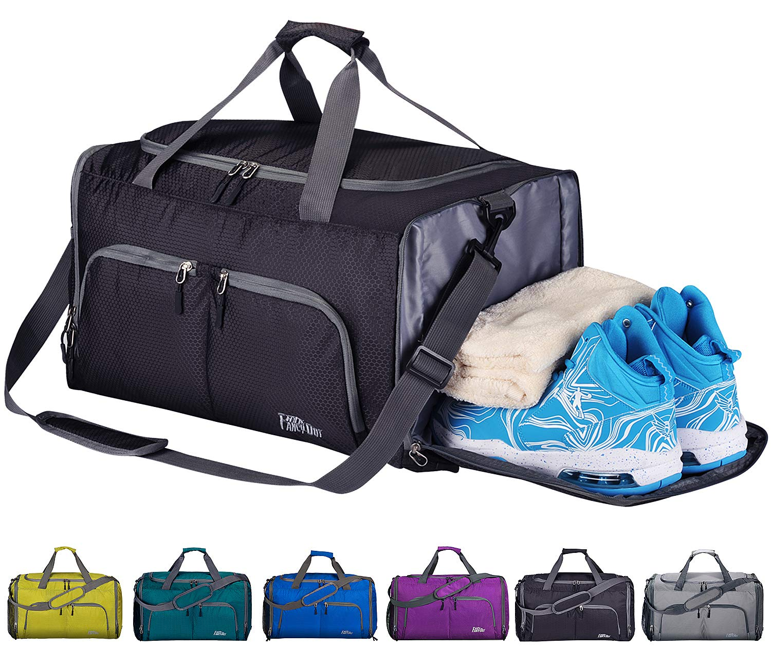 5967b49a85a7 CoCoMall Foldable Sports Gym Bag with Shoes Compartment   Wet Pocket ...