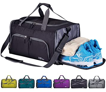 079527a9713cd7 CoCoMall Foldable Sports Gym Bag with Shoes Compartment & Wet Pocket,  Lightweight Travel Duffel Bag