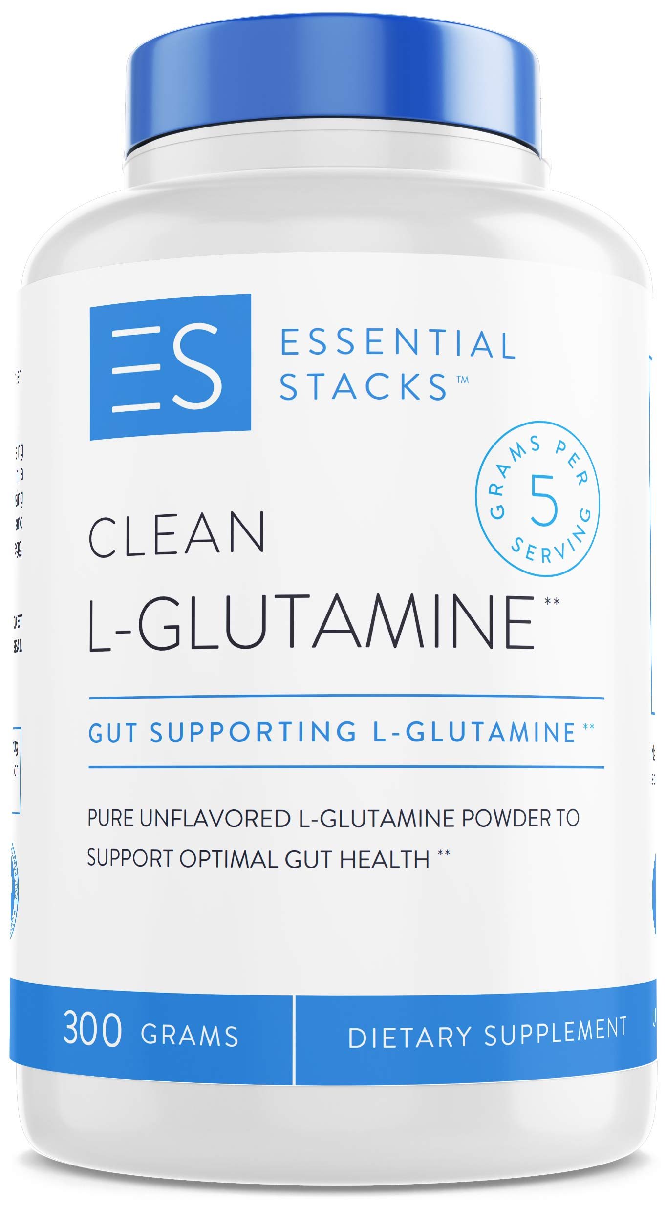 Essential Stacks Clean L-Glutamine Powder - Designed for Optimal Gut Health - Pure Unflavored L-Glutamine Powder That Mixes Easily & Has No Odor