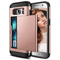 Galaxy S7 Case, Coolden Armor Shockproof CaseGalaxy S7 Wallet Case Cover Protective Case Rubber Bumper Card Holder Slot Wallet Case Cover for Samsung Galaxy S7 Phone Cases Heavy Duty Case (Rose Gold)