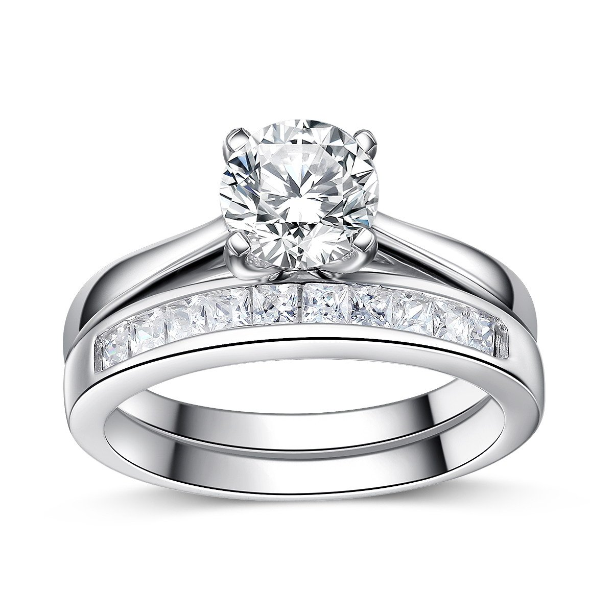 Sreema London 925 Sterling Silver AAAAA Cubic Zirconia Accent Love Forever Wedding Rings 5 1/4