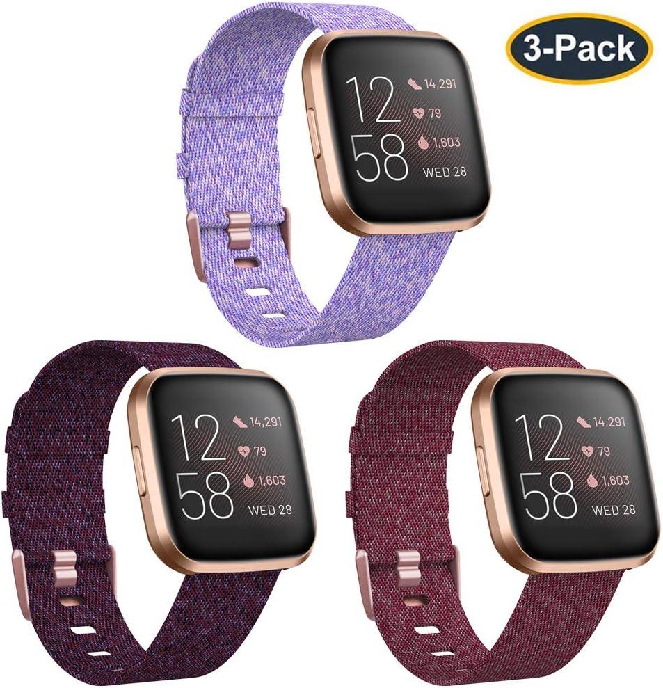 KIMILAR 3 Bandas compatibles con Fitbit Versa/Versa 2/Versa Lite Edition, Grande pequeño Tejido Suave Tela Transpirable Accesorios Correa de Repuesto para Reloj Inteligente Versa para Mujer y Hombre: Amazon.es: Electrónica