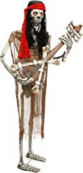 Halloween Haunters Life-Size Animated Standing Skeleton Zombie Man Guitar Player Musician Rock Band Prop Decoration - Thick Rubber Latex