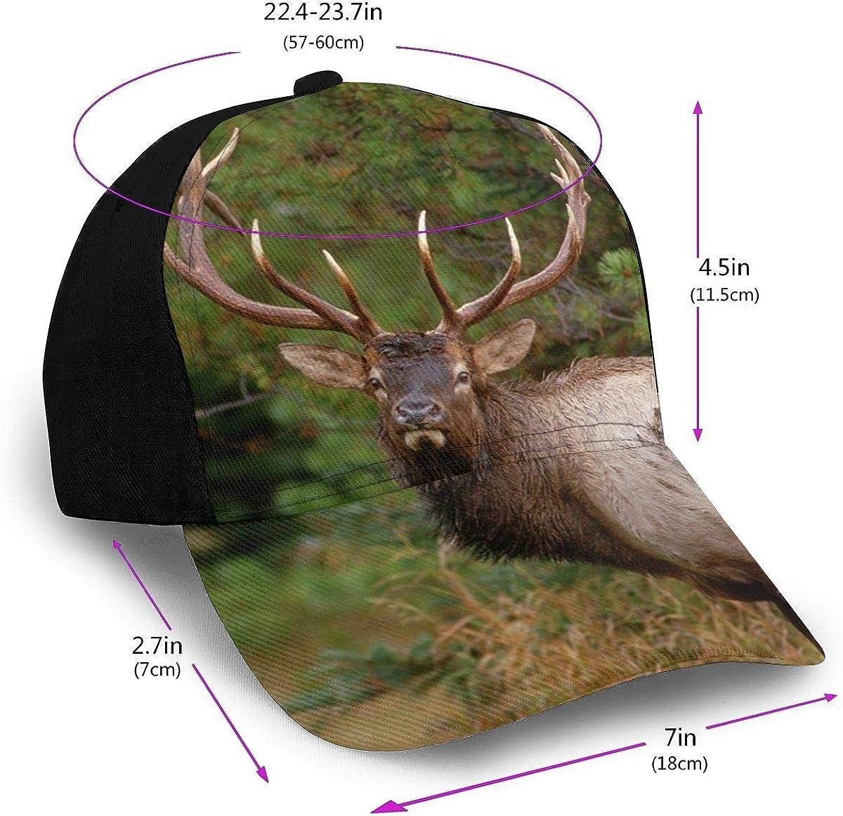 Rocky Mountain Elk Unisex Printed Baseball Caps Sunscreen Adjustable Snapback Hat Solid Brim Outdoors Women Men Adult