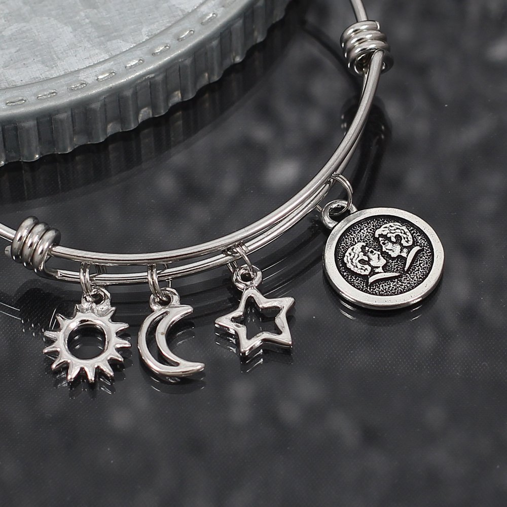 Gemini with Zodiac Sign Stainless Steel Bangle Bracelet with Sun Moon and Star Charms
