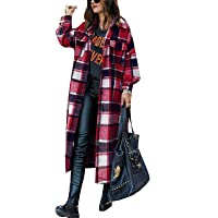 Women Long Wool Plaid Shirt Jacket Long Sleeve Lapel Shirt Shacket Top Casual Cardigan Windbreaker Outerwear