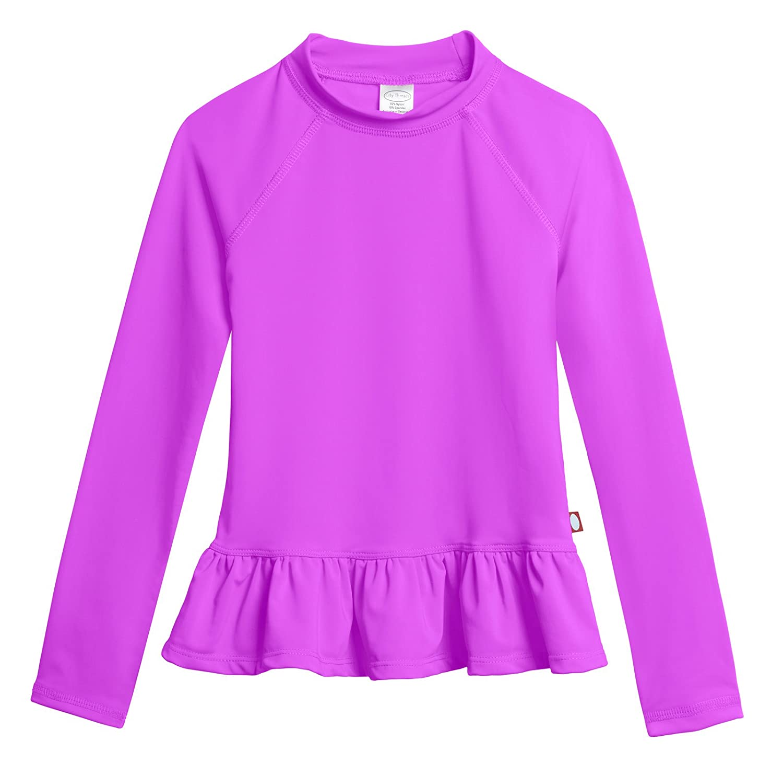 City Threads Big Girls Rash Guard Peplum Long Sleeve Sun Shirt with SPF50 CT-PEPRASH-P
