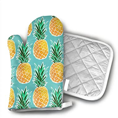Hawaiian Tropical Pineapple Shaped Oven Mitts and Pot Holders Set of 2 for Kitchen Set with Cotton Non-Slip Grip, Heat Resistant, Oven Gloves for BBQ Cooking Baking, Grilling, Machine Washable
