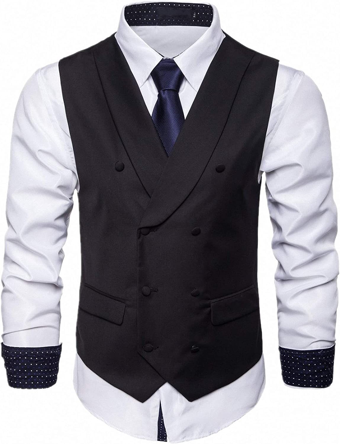 Anshirlisa Business Man Formal Double Breasted Vest Wedding Tuxedo Suits Waistcoat Slim Fit Outfit for Party