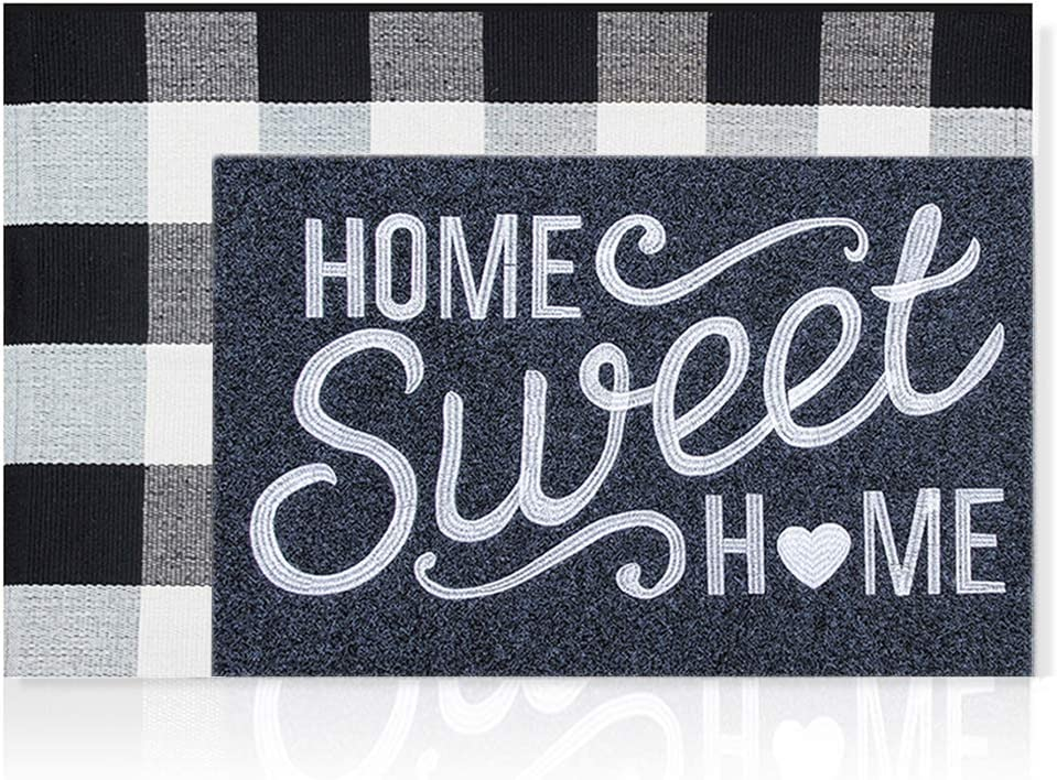 Home Sweet Home Welcome Front Door Mat Outdoor + Buffalo Plaid Rug Large 24