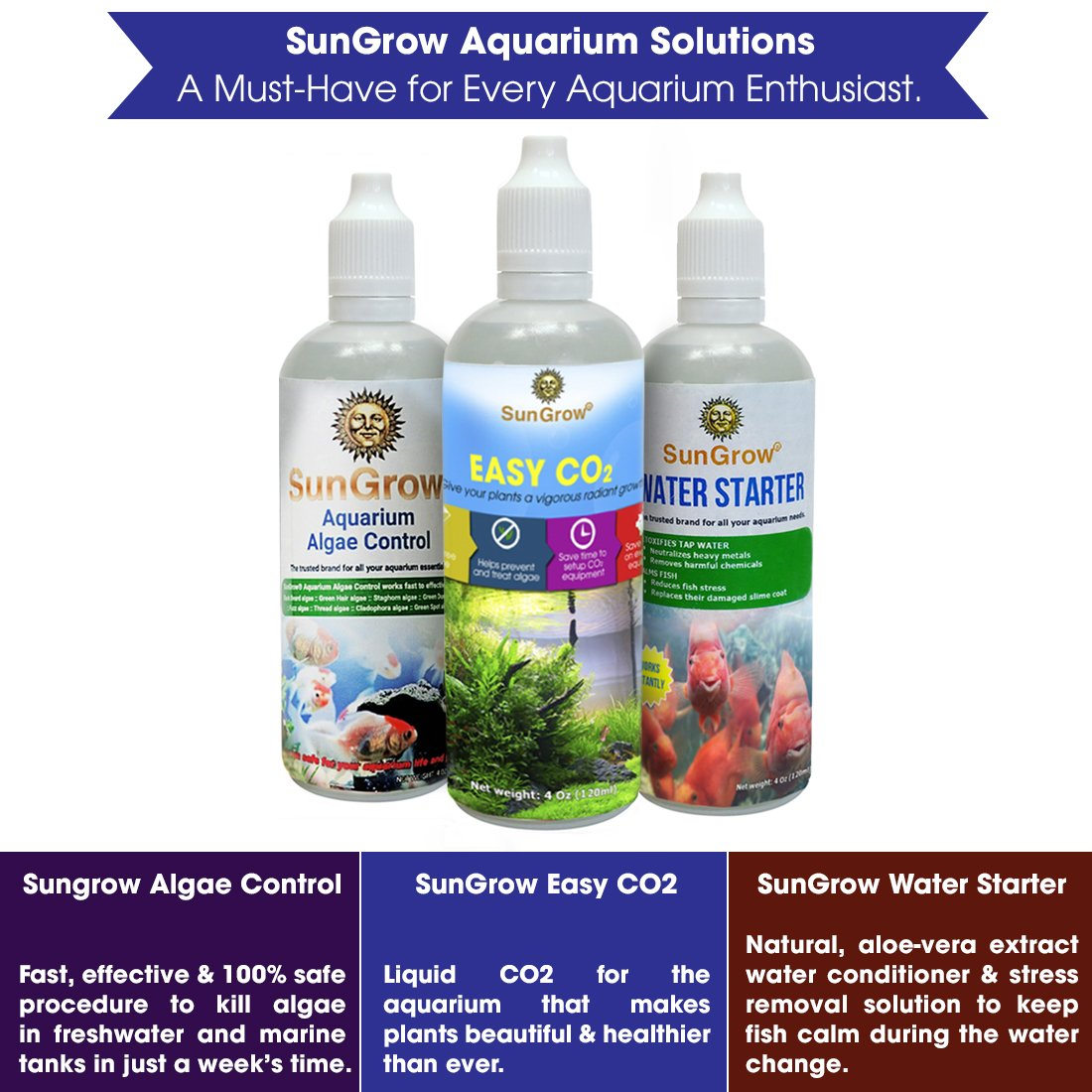 SunGrow Water Starter - Tap Water Conditioner: For Aquarium & Pond: Calms fish during Water Change: Protects fish with Aloe Vera extract