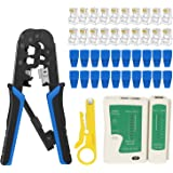 RJ45 Crimping Tool Kit Ethernet Crimp Tool Set, RJ-11, 6P/RJ-12, 8P/RJ-45 Crimp, Cut and Strip Tool with 20PCS RJ45 CAT5 CAT5