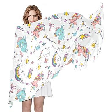 COOSUN Hand Drawn Motif Licorne Foulard en soie légère longue écharpe pour  les femmes Enveloppe de cf19874bcd8