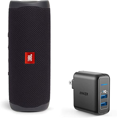 JBL Flip 5 Waterproof Portable Wireless Bluetooth Speaker Bundle with 2-Port USB Wall Charger – Black