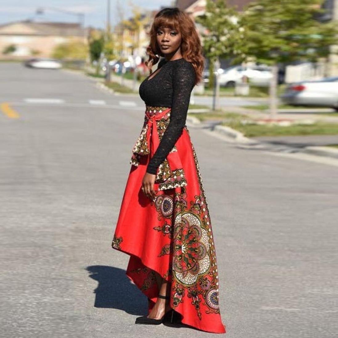 9b7b7a27ff iTLOTL New African Women Printed Summer Boho Long Dress Beach Evening Party Maxi  Skirt at Amazon Women's Clothing store: