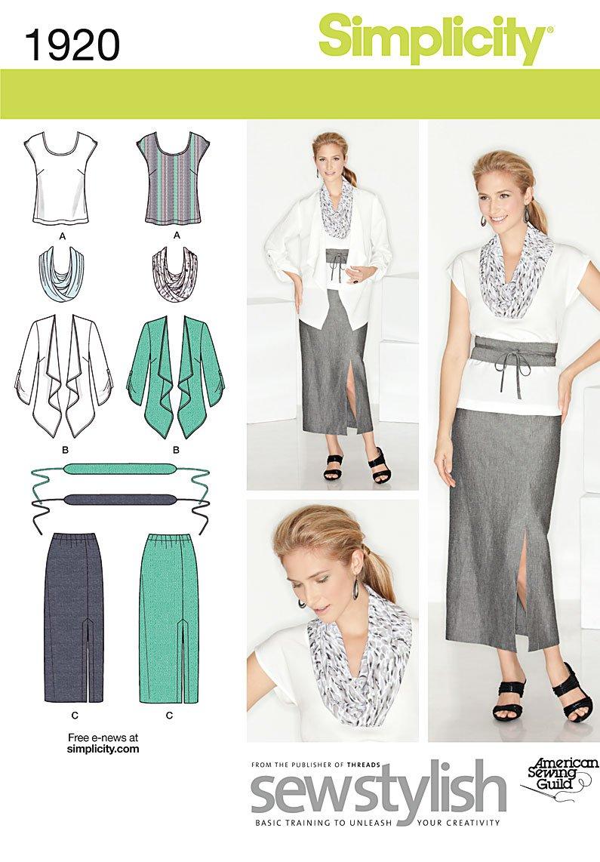 Simplicity 1920.AA - Patrón para ropa femenina informal (tallas 38 ...