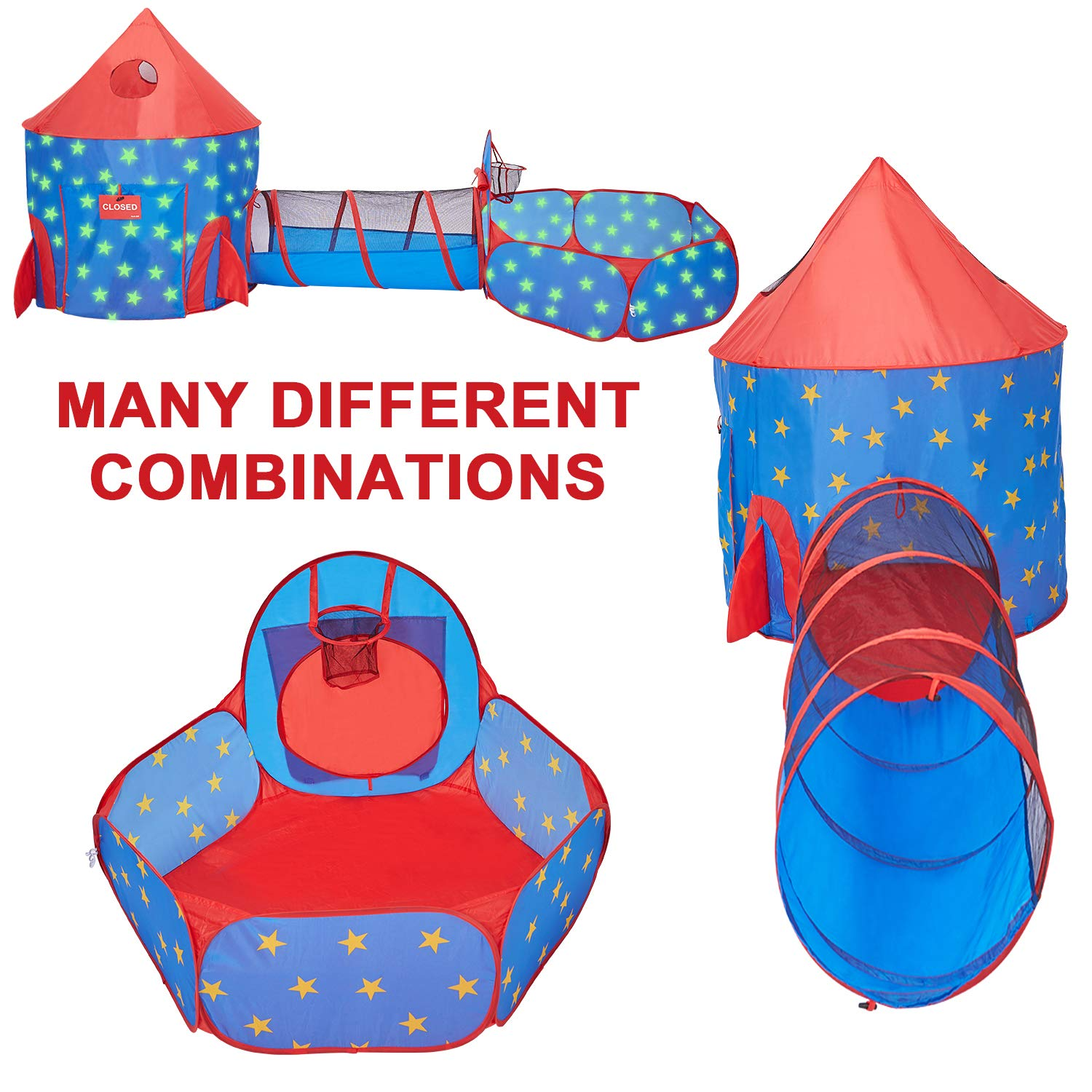 HAN-MM 3pc Play Tent Ball Pit with Tunnel Stars Glow in The Dark, Tunnel & Ball Pit Basketball Rocket Ship Astronaut Hoop Toys with Bonus Message Signs for Indoor Outdoor Camping by HAN-MM (Image #2)