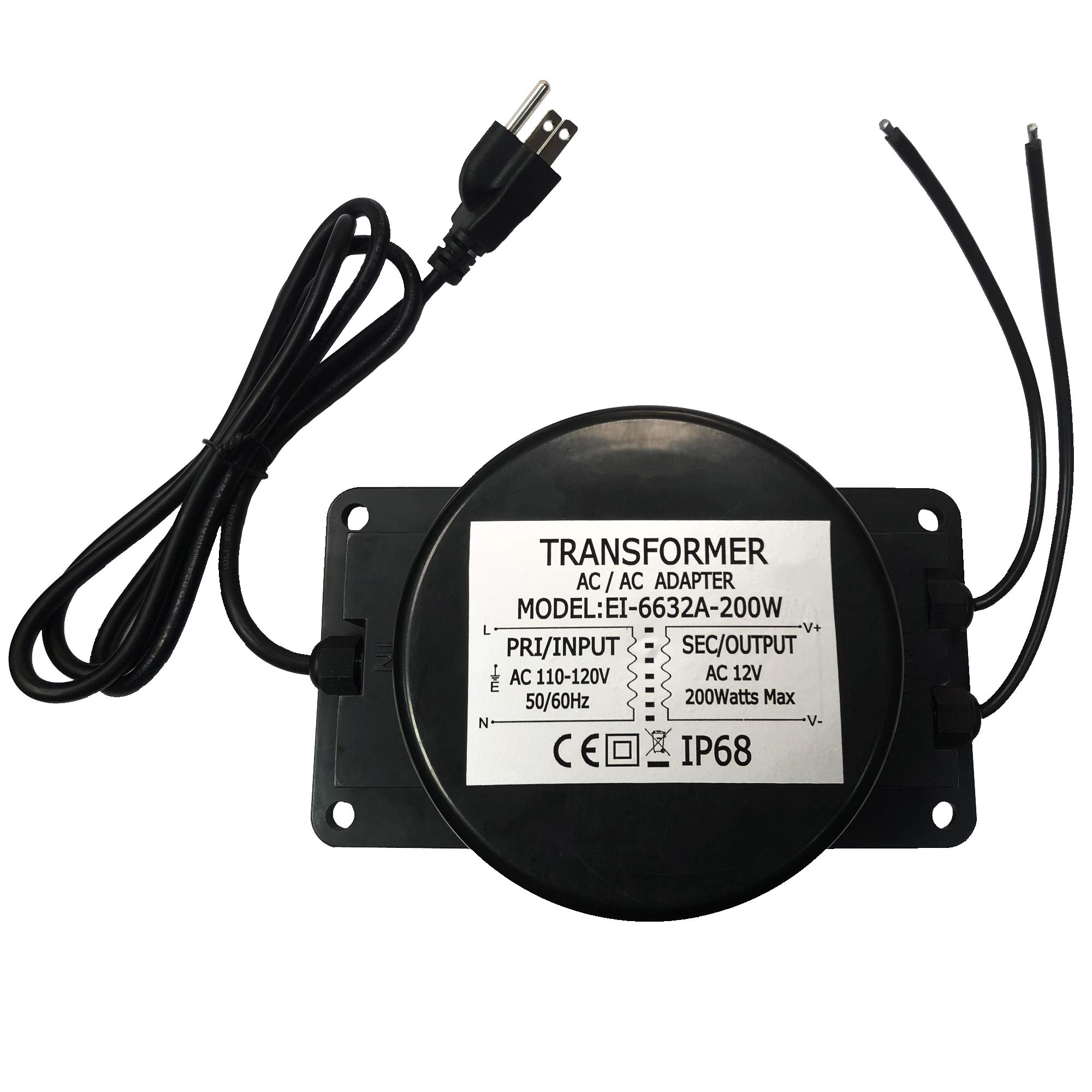 CNBRIGHTER Waterproof 12V AC Transformer 200W,110V-120V AC to 12V AC LED Power Supply, Voltage Converter LED Driver,Adapter for Outdoor Landscape Lighting/Swimming Pool Light (200 Watts) by CNBRIGHTER