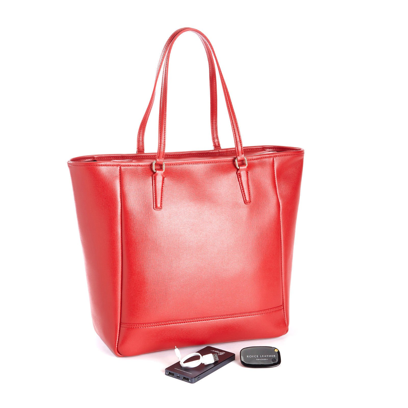 ROYCE Saffiano Leather RFID Blocking 24 Hour Tote Bag with Universal Bluetooth-Enabled Tracking Device for Locating Lost Bags and Portable Battery Power Bank - Red