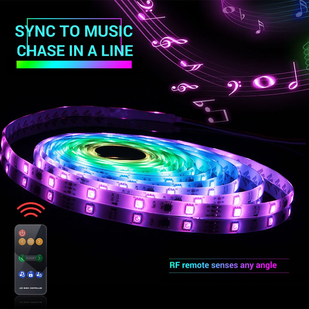 Led Strip Lights Sync to Music, 5M/16.54ft Chase Effect Led Lights Kit 5050 RGB Led Rope Lights Waterproof Led Lights Strip with 360 Degree Signals Accept RF Remote 12V AC Adapter Powered