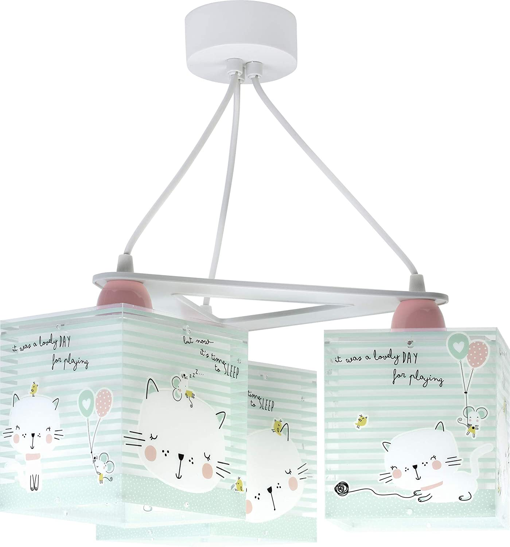 lampe suspension enfant 3 lumi/ères Loving Cat chats Vert