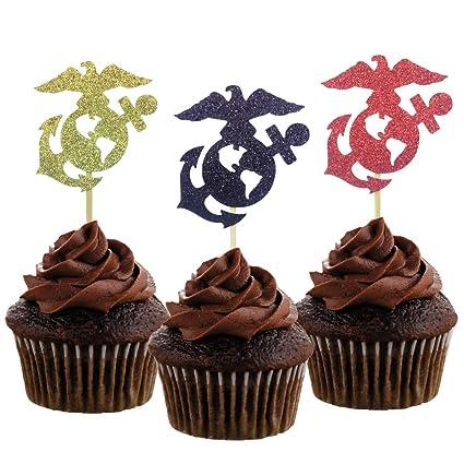 Astonishing Morndew 24 Pcs United States Marine Corps Themed Cupcake Toppers Personalised Birthday Cards Akebfashionlily Jamesorg