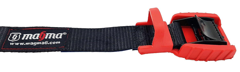 MAGMA Pack 2 Cinchas de Amarre | Correas para Baca Coche y Portabicicletas. Surf, Bici, Kayak, Moto | Hebilla -Trinquete con Protección de Goma para no ...