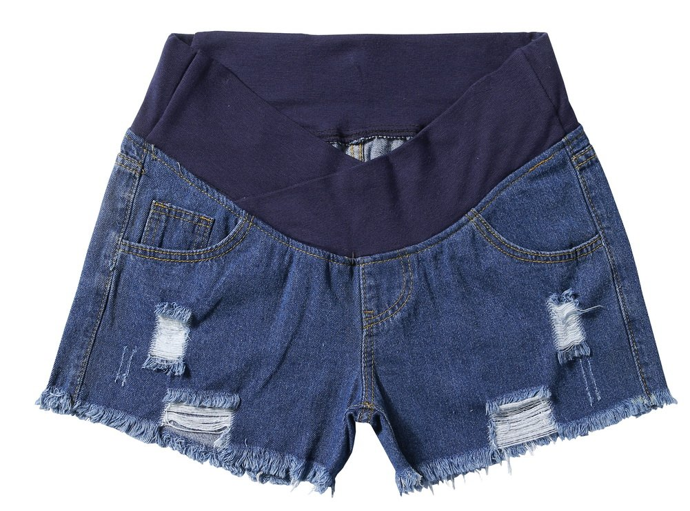 Foucome Women's Underbelly Wide Elastic Band Waist Maternity Shorts for Women Denim Blue